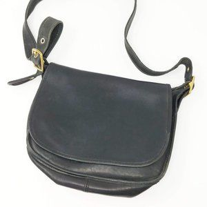 Vintage Coach Black  Leather Flap Satchel Bag